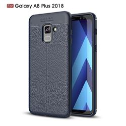 Luxury Auto Focus Litchi Texture Silicone TPU Back Cover for Samsung Galaxy A8+ (2018) - Dark Blue