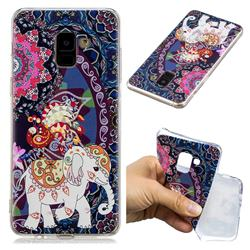 Totem Flower Elephant Super Clear Soft TPU Back Cover for Samsung Galaxy A8+ (2018)