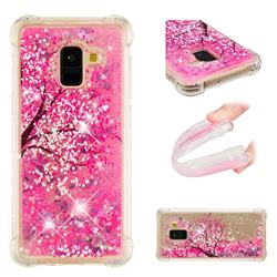 Pink Cherry Blossom Dynamic Liquid Glitter Sand Quicksand Star TPU Case for Samsung Galaxy A8+ (2018)