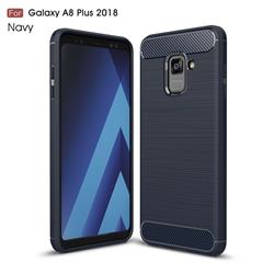 Luxury Carbon Fiber Brushed Wire Drawing Silicone TPU Back Cover for Samsung Galaxy A8+ (2018) - Navy