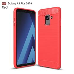 Luxury Carbon Fiber Brushed Wire Drawing Silicone TPU Back Cover for Samsung Galaxy A8+ (2018) - Red