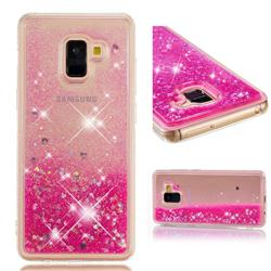 Dynamic Liquid Glitter Quicksand Sequins TPU Phone Case for Samsung Galaxy A8+ (2018) - Rose