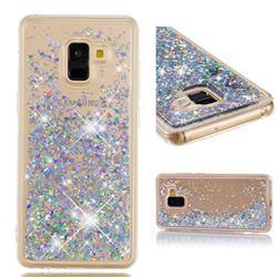Dynamic Liquid Glitter Quicksand Sequins TPU Phone Case for Samsung Galaxy A8+ (2018) - Silver