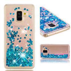 Dynamic Liquid Glitter Quicksand Sequins TPU Phone Case for Samsung Galaxy A8+ (2018) - Blue