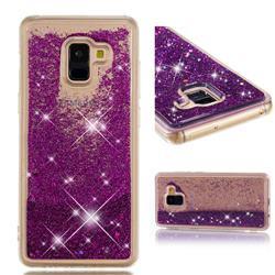 Dynamic Liquid Glitter Quicksand Sequins TPU Phone Case for Samsung Galaxy A8+ (2018) - Purple