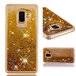 Dynamic Liquid Glitter Quicksand Sequins TPU Phone Case for Samsung Galaxy A8+ (2018) - Golden