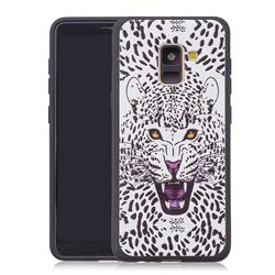 Snow Leopard 3D Embossed Relief Black Soft Back Cover for Samsung Galaxy A8+ (2018)
