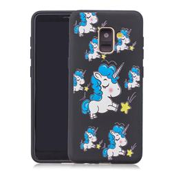 Blue Unicorn 3D Embossed Relief Black Soft Back Cover for Samsung Galaxy A8+ (2018)