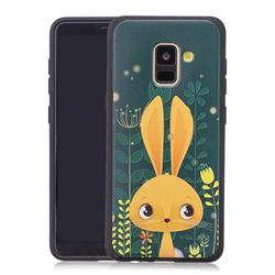 Cute Rabbit 3D Embossed Relief Black Soft Back Cover for Samsung Galaxy A8+ (2018)