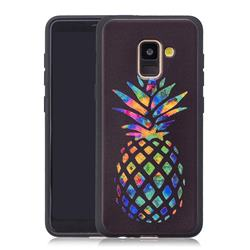 Colorful Pineapple 3D Embossed Relief Black Soft Back Cover for Samsung Galaxy A8+ (2018)