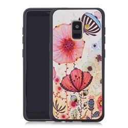 Pink Flower 3D Embossed Relief Black Soft Back Cover for Samsung Galaxy A8+ (2018)