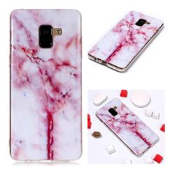 Red Grain Soft TPU Marble Pattern Phone Case for Samsung Galaxy A8+ (2018)