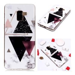 Four Triangular Soft TPU Marble Pattern Phone Case for Samsung Galaxy A8+ (2018)