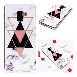 Inverted Triangle Black Soft TPU Marble Pattern Phone Case for Samsung Galaxy A8+ (2018)