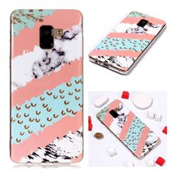 Diagonal Grass Soft TPU Marble Pattern Phone Case for Samsung Galaxy A8+ (2018)