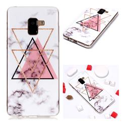Inverted Triangle Powder Soft TPU Marble Pattern Phone Case for Samsung Galaxy A8+ (2018)