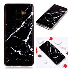 Black Rough white Soft TPU Marble Pattern Phone Case for Samsung Galaxy A8+ (2018)