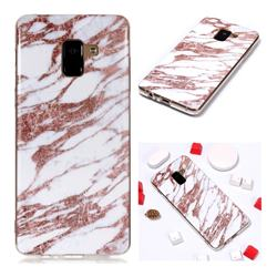 Rose Gold Grain Soft TPU Marble Pattern Phone Case for Samsung Galaxy A8+ (2018)