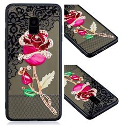 Rose Lace Diamond Flower Soft TPU Back Cover for Samsung Galaxy A8+ (2018)