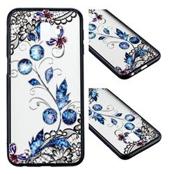 Butterfly Lace Diamond Flower Soft TPU Back Cover for Samsung Galaxy A8+ (2018)