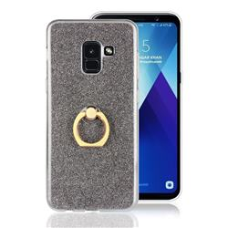 Luxury Soft TPU Glitter Back Ring Cover with 360 Rotate Finger Holder Buckle for Samsung Galaxy A8+ (2018) - Black