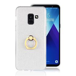 Luxury Soft TPU Glitter Back Ring Cover with 360 Rotate Finger Holder Buckle for Samsung Galaxy A8+ (2018) - White