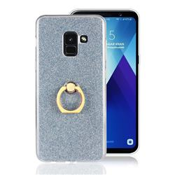 Luxury Soft TPU Glitter Back Ring Cover with 360 Rotate Finger Holder Buckle for Samsung Galaxy A8+ (2018) - Blue
