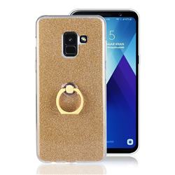 Luxury Soft TPU Glitter Back Ring Cover with 360 Rotate Finger Holder Buckle for Samsung Galaxy A8+ (2018) - Golden