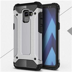 King Kong Armor Premium Shockproof Dual Layer Rugged Hard Cover for Samsung Galaxy A8+ (2018) - Silver Grey