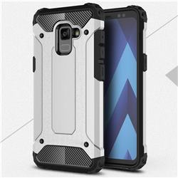 King Kong Armor Premium Shockproof Dual Layer Rugged Hard Cover for Samsung Galaxy A8+ (2018) - Technology Silver