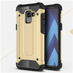 King Kong Armor Premium Shockproof Dual Layer Rugged Hard Cover for Samsung Galaxy A8+ (2018) - Champagne Gold
