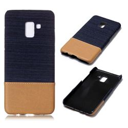 Canvas Cloth Coated Plastic Back Cover for Samsung Galaxy A8+ (2018) - Dark Blue