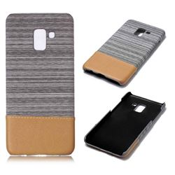 Canvas Cloth Coated Plastic Back Cover for Samsung Galaxy A8+ (2018) - Light Grey