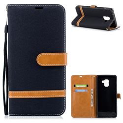 Jeans Cowboy Denim Leather Wallet Case for Samsung Galaxy A8+ (2018) - Black