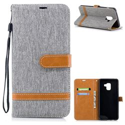 Jeans Cowboy Denim Leather Wallet Case for Samsung Galaxy A8+ (2018) - Gray