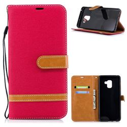 Jeans Cowboy Denim Leather Wallet Case for Samsung Galaxy A8+ (2018) - Red