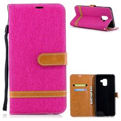 Jeans Cowboy Denim Leather Wallet Case for Samsung Galaxy A8+ (2018) - Rose