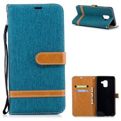 Jeans Cowboy Denim Leather Wallet Case for Samsung Galaxy A8+ (2018) - Green