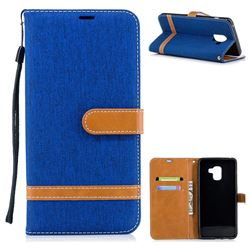 Jeans Cowboy Denim Leather Wallet Case for Samsung Galaxy A8+ (2018) - Sapphire