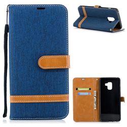 Jeans Cowboy Denim Leather Wallet Case for Samsung Galaxy A8+ (2018) - Dark Blue