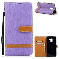 Jeans Cowboy Denim Leather Wallet Case for Samsung Galaxy A8+ (2018) - Purple