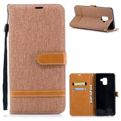 Jeans Cowboy Denim Leather Wallet Case for Samsung Galaxy A8+ (2018) - Brown