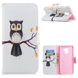Owl on Tree Leather Wallet Case for Samsung Galaxy A8+ (2018)