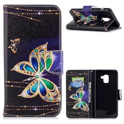 Golden Shining Butterfly Leather Wallet Case for Samsung Galaxy A8+ (2018)