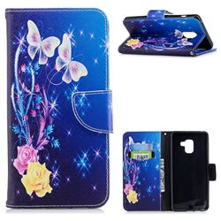 Yellow Flower Butterfly Leather Wallet Case for Samsung Galaxy A8+ (2018)