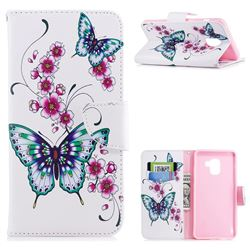 Peach Butterfly Leather Wallet Case for Samsung Galaxy A8+ (2018)