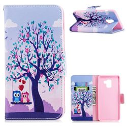 Tree and Owls Leather Wallet Case for Samsung Galaxy A8+ (2018)