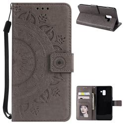 Intricate Embossing Datura Leather Wallet Case for Samsung Galaxy A8+ (2018) - Gray