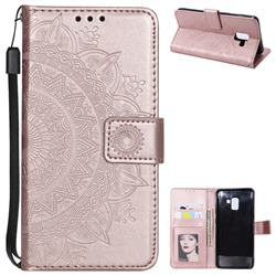 Intricate Embossing Datura Leather Wallet Case for Samsung Galaxy A8+ (2018) - Rose Gold