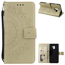 Intricate Embossing Datura Leather Wallet Case for Samsung Galaxy A8+ (2018) - Golden